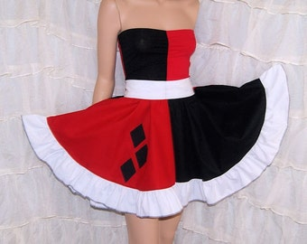 Harley Quinn Strapless Summer Sun Ruffle Dress Cosplay Costume Adult Small - MTCoffinz - Ready to Ship
