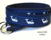 Whale Belt / Canvas Belt / Preppy D-ring Belt / Navy Webbing Belt / Ribbon Belt for men, teens big & tall men - White Whales