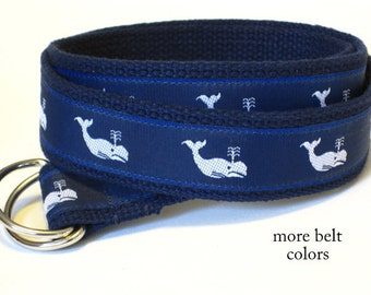 Whale Belt / Canvas Belt / Preppy D-ring Belt / Navy Webbing Belt / Ribbon Belt for men, teens big & tall men - White Whales