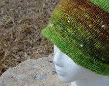 Hand Knit Handspun Double Knit Outdoorsman Hat - Hayfields & Dragonflies - Green, Rust, Blue. Handspun Yarn, Soft Merino, Double Layered Hat