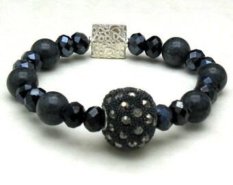 Steel Gray Jade Boho Beaded Bracelet, Midnight Blue Crystal Modern Stretch Bracelet, Rhinestone Stud Focal, For Her Under 150
