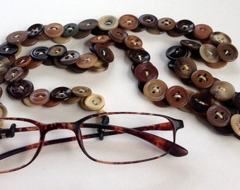 Eyeglass Chain in Vintage Buttons - Shades of Brown