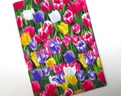 TRADE SIZE paperback book cover,  book protector, cotton, padded cover, gorgeous spring tulips
