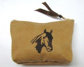 Faux Suede Embroidered Coin purse - Mini coin purse - Small coin purse - Zipper coin purse - Wallet, Horse
