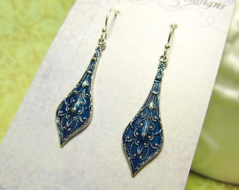 blue Moroccan dangle earrings Blue Patina Boho jewelry