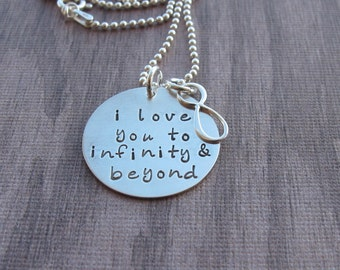 I love you to infinity and beyond Hand Stamped Jewelry Valentine Gift Anniversary  Valentine's Day Gift Sterling Silver Ready to Ship