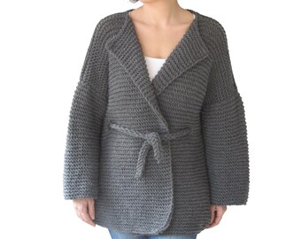 NEW! Dark Gray Cardigan with Knitting Belt by Afra Plus Size Over Size