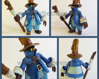 Vivi Ornitier Statue OOAK Final Fantasy IX polymer clay black mage sculpture