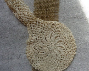 Tiny Vintage Ringbearer Purse, Hand Crocheted Round Bag