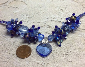 Sale! handmade OOAK blue crystal vintage glass bead sterling silver necklace