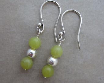 green jade sterling silver dangle earrings