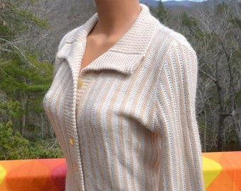 vintage 60's women's CARDIGAN sweater shawl collar stripes soft acrylic buttons ivory cream Medium Small