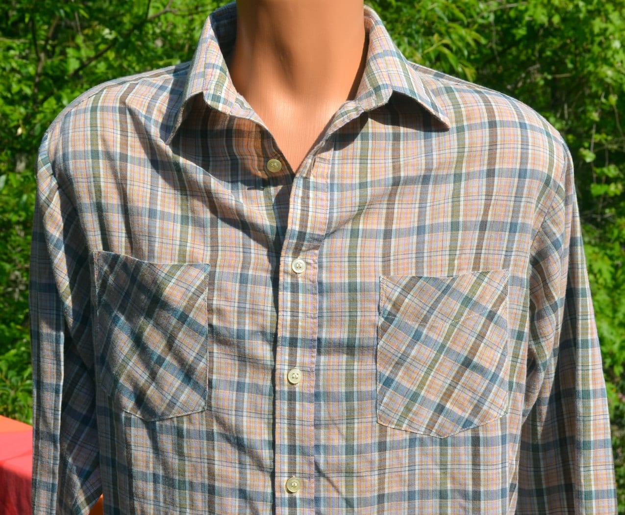 Vintage 70s Bud Berma Plaid Shirt Button Down Weekender Light