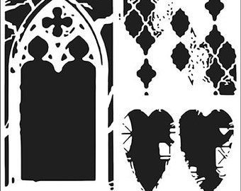Cathedral Of Love 6x6 Crafters Workshop Stencil (532S) - For cookies, cake, cardmaking, mixed media, paper-arts, chalking, scrapbooks