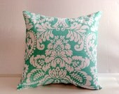 Seafoam Green Off White Floral Pillow, Decorative Throw Pillow Cover - Choose Size - Seafoam Green Off White One (1) Cover