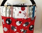 Knitting Needle Storage, Crochet Storage, Yarn Organizer, Yarn Storage,Bin Basket, 29+Needle Sleeves, 15+Crochet Sleeves, Multiple Yarn Feed