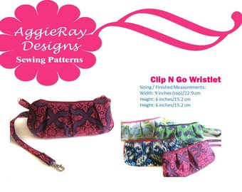 INSTANT DOWNLOAD PDF Tutorial Sewing Pattern Clip & Go Wristlet