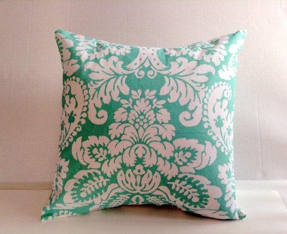 Seafoam Green Off White Floral Pillow Decorative Throw Pillow