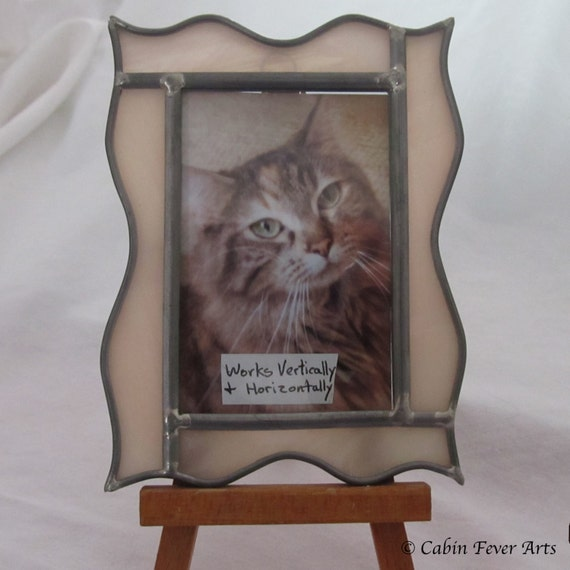 Champagne Pink Picture Frame in Stained Glass for 2 x 3 photo, horizontal or vertical