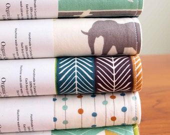 Choose your Favorite Two Sets of 2 Organic Burp Cloths, Organic Burp Cloth Baby Gift by Organic Quilt Company