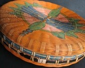 Asian Painted Bamboo Woven Sewing Basket Chinese Orange Black Blue Green
