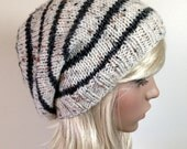 Instant Download Knitting Pattern, Knit Hat Pattern, Easy Slouchy Beanie Beret, Unisex, winter, ski, teen