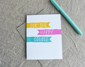 Letterpress Wedding Engagement Happy Couple Greeting Card
