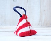 Triangle Pouch in Red and White Felted Wool