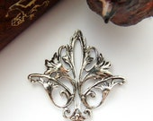 SILVER Art Nouveau Flower CONNECTOR Stamping - Jewelry Antique Silver Findings (CB-3052) #