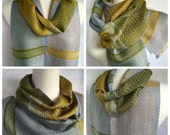 Silver Gold to Green with Silver Handwoven Scarf