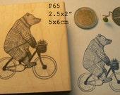 P65 Biking bear rubber stamp, hand drawn