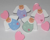 Hand Painted Angel and Heart Push Pins Thumb Tacks for Bulletin Memo Message Memory Note Cork Board Free USA Shipping