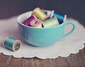 Still Life Photography, Vintage Thread in Tea Cup Photograph, Tiffany Blue, Shabby, Craft Room Decor, Laundry Room Photo, Fine Art Print