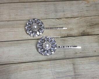 Bridal Hair Pins, Pearl Hair Pins, Wedding Hair Clip, Bridal Bobby Pins, Rhinestone Bobby Pin, Wedding Hair Pins, Bridesmaid Hair Pins