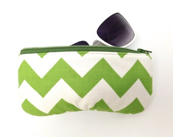 Eyeglass Case, Sunglasses Case, Glasses Sleeve, Fabric Sunglass Holder, Green and White Chevrons