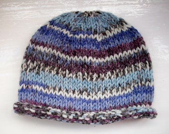 SALE Child's hat, knit, chunky wool, fair isle effect, blue, purple, child or small size