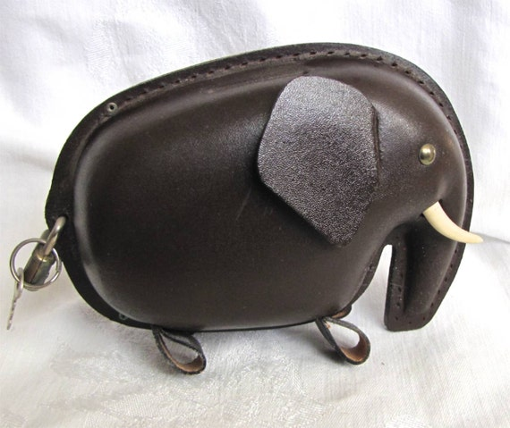 Kounoike leather bank kounoike elephant bank leather piggy for Large piggy bank with lock