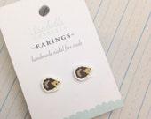 Hedgehog Earrings, Studs, Stocking Stuffers, Gifts Under 10