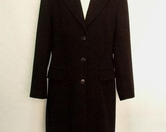 60% OFF  90s Black wool ladies long coat large
