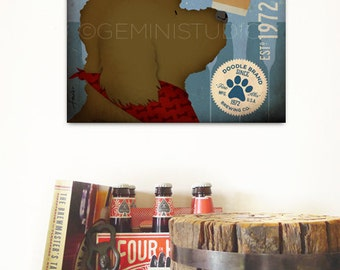 Goldendoodle labradoodle doodle dog Brewing beer Company graphic illustration on gallery wrapped canvas by stephen fowler