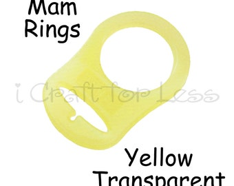 5 MAM Adapter Rings - Dummy Clip / Pacifier Chain Adapter - Yellow Silicone - for Button Style Pacifiers - SEE COUPON