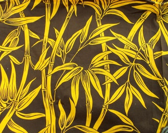 Wonderful Vintage Bamboo Print Fabric Brown and Yellow Great Graphic 1.5 + yards by 45