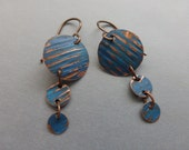 Recycled triple corrugated copper disks with blue patina earrings