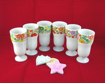 China Parfait Dishes - Set of 6 - Flower Power Design - Vintage c1960s Kitchen- Made in Japan - For Sundaes Puddings Desserts