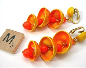 "Dangling Bells Earrings, 2-1/2"" Drops, Mod / Hippie / Boho Yellow Orange Clipons, Enameled Metal, Vintage c1960s Costume Jewelry"