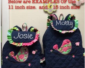 CUSTOM HANDMADE Love Bird Toddler Backpack comes With Love Bird Applique, Name,Cup Pocket,Trim You Choose Fabrics for the Applique & Trim