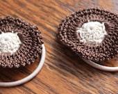 Crochet Flower Ponytails, Hair Accessories, Tan & Brown