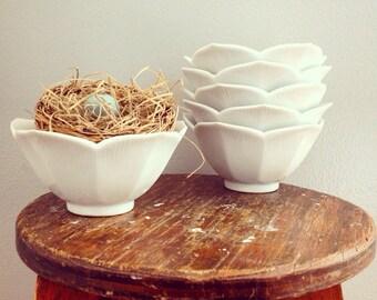 Bowl Full Of Cherries... Set of Four Vintage White Porcelain Lotus Bowls Small