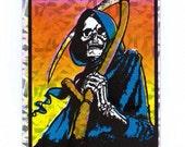 Grim Reaper Vending Machine Sticker 90's Prismatic  Death