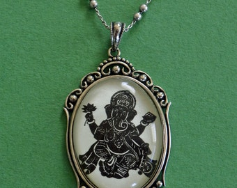 Sale 20% Off // GANESH Necklace, pendant on chain - Silhouette Jewelry // Coupon Code SALE20